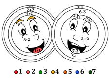 Coloring counting for little kids - smiling colored heads Stock Image