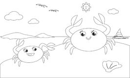 Coloring crab family on the beach. Black and white cartoon crab mom and child on the sand, vector illustration Stock Photography