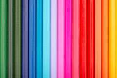 Coloring Crayons Arranged In Rainbow Line Stock Images