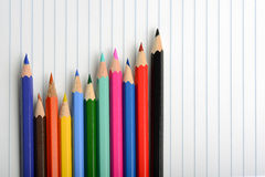 Coloring crayons arranged Royalty Free Stock Photos
