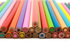 Coloring Crayons Close Up. View of the Square End Royalty Free Stock Image