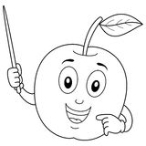 Coloring Cute Apple Character with Pointer Royalty Free Stock Photography