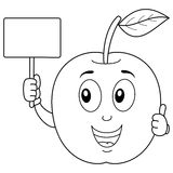 Coloring Cute Apple Holding a Blank Banner Stock Image