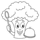 Coloring Cute Broccoli with Tray and Spoon Royalty Free Stock Photos