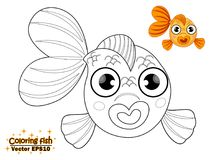 Coloring the cute cartoon fish. educational game for kids. Vecto. R illustration. children and educational Royalty Free Stock Image
