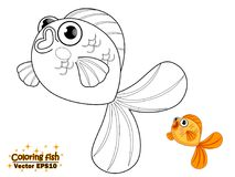 Coloring the cute cartoon fish. educational game for kids. Vecto. R illustration. children and educational Royalty Free Stock Photo