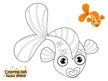 Coloring the cute cartoon fish. educational game for kids. Vecto. R illustration. children and educational Royalty Free Stock Images