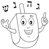 Coloring Cute Hanukkah Dreidel Character. Coloring illustration for kids: a funny Hanukkah Dreidel traditional Jewish toy character smiling, isolated on white
