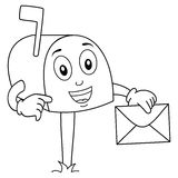 Coloring Cute Mailbox Character with Letter Royalty Free Stock Photo