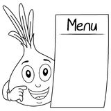 Coloring Cute Onion with Blank Menu Stock Photo