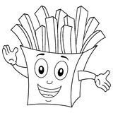Coloring Cute Paper Bag with French Fries. Coloring illustration for kids: a funny cartoon paper bag character smiling with potato chips, isolated on white Stock Photography