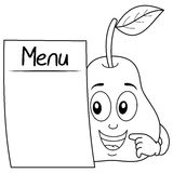 Coloring Cute Pear Character with Menu. Coloring illustration for kids: a funny cartoon pear character holding a blank menu, isolated on white background. Eps Royalty Free Stock Image