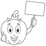 Coloring Cute Pepper Holding Blank Banner. Coloring illustration for kids: a happy cartoon pepper character with thumbs up and holding a blank banner, isolated Royalty Free Stock Image