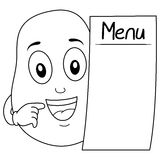 Coloring Cute Potato Character with Menu Stock Images