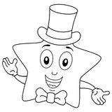 Coloring Cute Star with Top Hat and Bow Tie Stock Images
