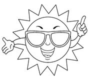 Coloring Cute Summer Sun with Sunglasses Stock Image