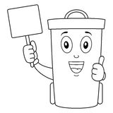 Coloring Cute Trash Can or Waste Bin. Coloring illustration for kids: a cute cartoon waste bin or trash can character smiling with thumbs up and holding a blank Stock Photo