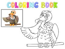 Coloring cute vulture cartoon isolated on white Royalty Free Stock Images