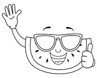 Coloring Cute Watermelon with Sunglasses. Coloring illustration for kids: a cool cartoon watermelon slice character with thumbs up and sunglasses, isolated on Stock Image