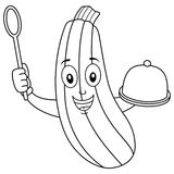 Coloring Cute Zucchini with Tray and Spoon. Coloring illustration for kids: a happy cartoon zucchini character smiling holding a tray and a wooden spoon Royalty Free Stock Images