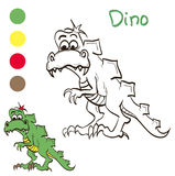 Coloring dinosaur with color samples for children Stock Photos