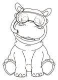 Coloring diver hippo Stock Photos
