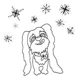 Coloring, Dog, puppy, catching snowflakes Stock Images
