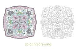 Coloring drawing mandala template vector Stock Images