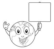 Coloring Earth Character Holding Blank Sign Stock Image
