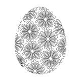 Coloring Easter Egg. Easter egg with big flowers, coloring for adults Stock Images