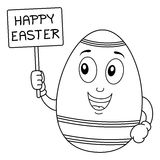 Coloring Easter Egg Character Holding Sign Royalty Free Stock Photo