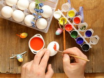 Coloring Easter eggs paint and brushes Stock Image