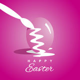 Coloring Easter eggs pink background. Vector Stock Photos