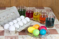 Coloring eggs for Easter holiday Stock Image