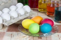 Coloring eggs for Easter holiday Royalty Free Stock Photo
