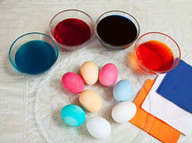 Coloring eggs for Easter Royalty Free Stock Image