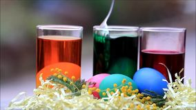 Coloring eggs for easter stock footage