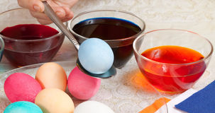 Coloring eggs for Easter holiday Stock Photography