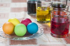Coloring eggs for Easter holiday Stock Images
