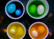 Coloring eggs Stock Photos