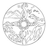 Coloring 4 elements Mandala Diksha. Coloring vector illustration with Lotus flower and four elements: earth, air, water and fire Stock Images