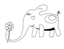 Coloring with elephant Stock Photos