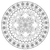 Coloring Ethnic Flower Mandala royalty free illustration