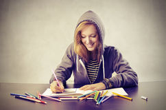 Coloring the Exercise Book stock photo
