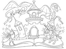 Coloring fairy open book tale concept kids illustration with evil dragon, brave warrior and magic castle. Coloring fairy open book tale concept - kids Royalty Free Stock Image