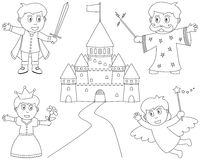 Coloring Fairy Tale Characters. Four fairy tale characters (little prince charming, princess, wizard, fairy) and a fantasy castle, black and white version Stock Photography