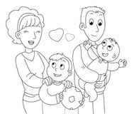 Coloring family vector Stock Photography