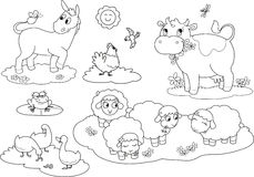 Coloring farm animals 2 royalty free illustration