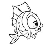 Coloring fish ball cartoon illustration Royalty Free Stock Photo