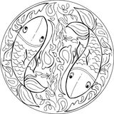 Coloring fishes mandala vector Royalty Free Stock Image